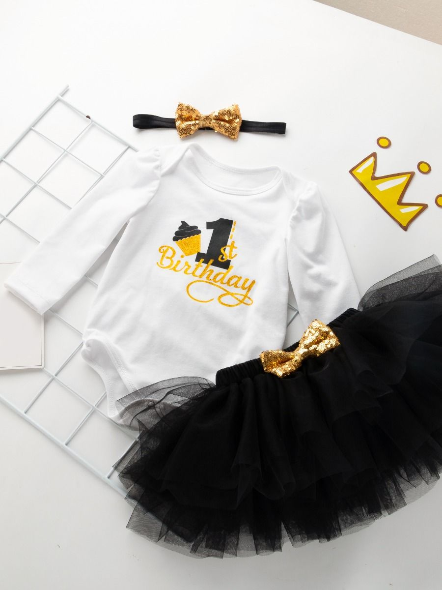 1st birthday set for baby girl with black color
