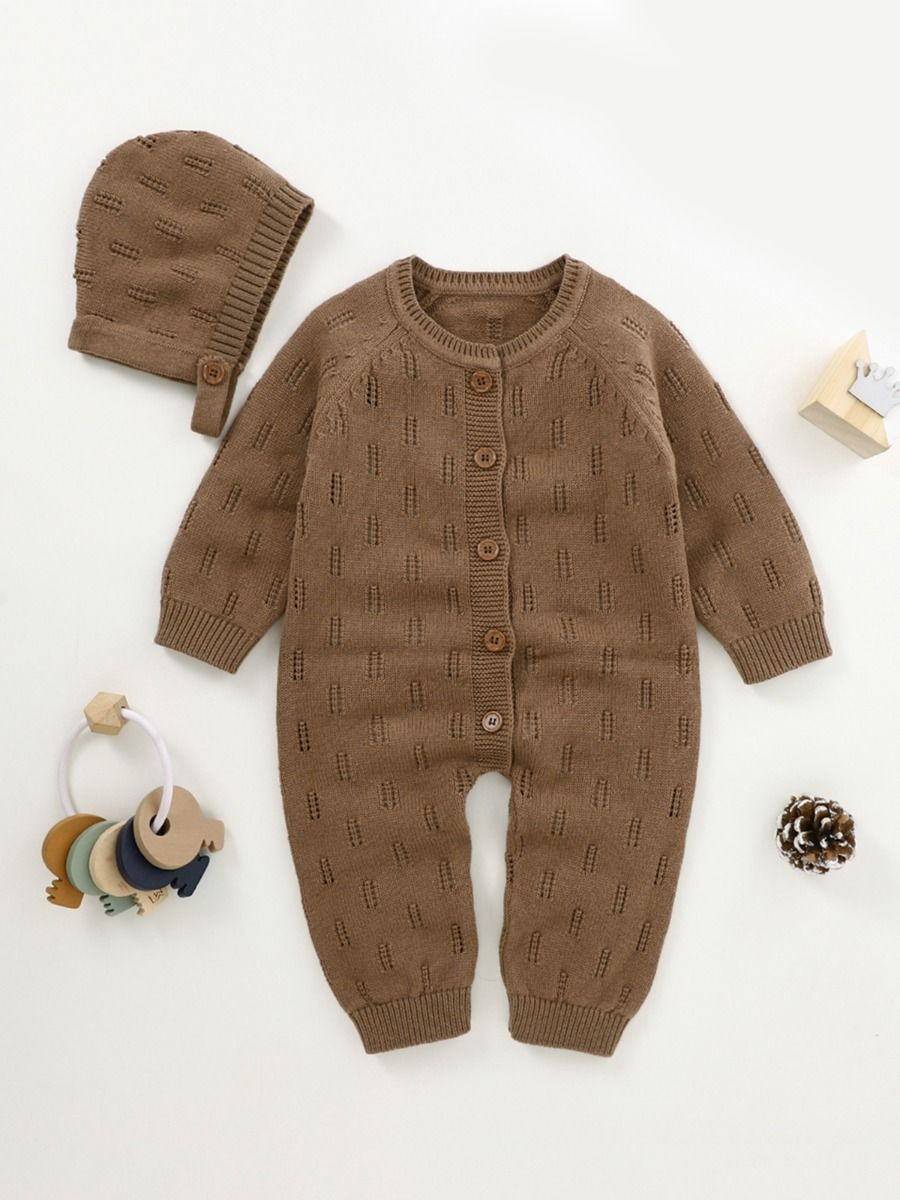 2 piece knitted romper with coffee colour