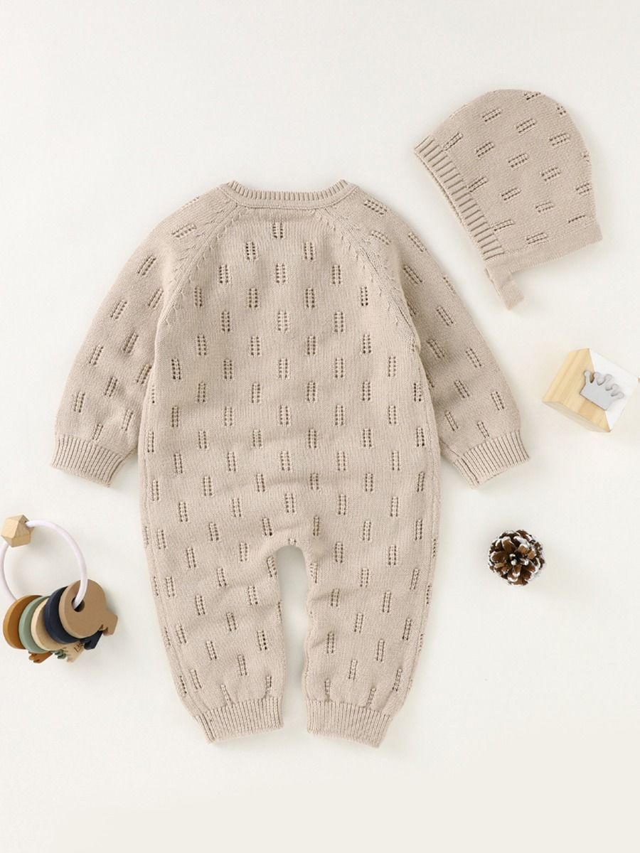 2 piece knitted romper with cream colour