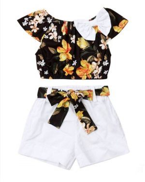 2 piece set floral top and white belted shorts