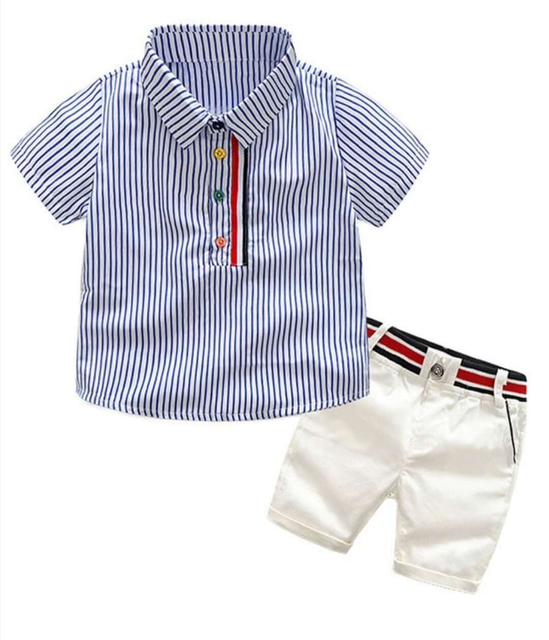 2 piece summer casual outfit stripe shirt with matching white shorts