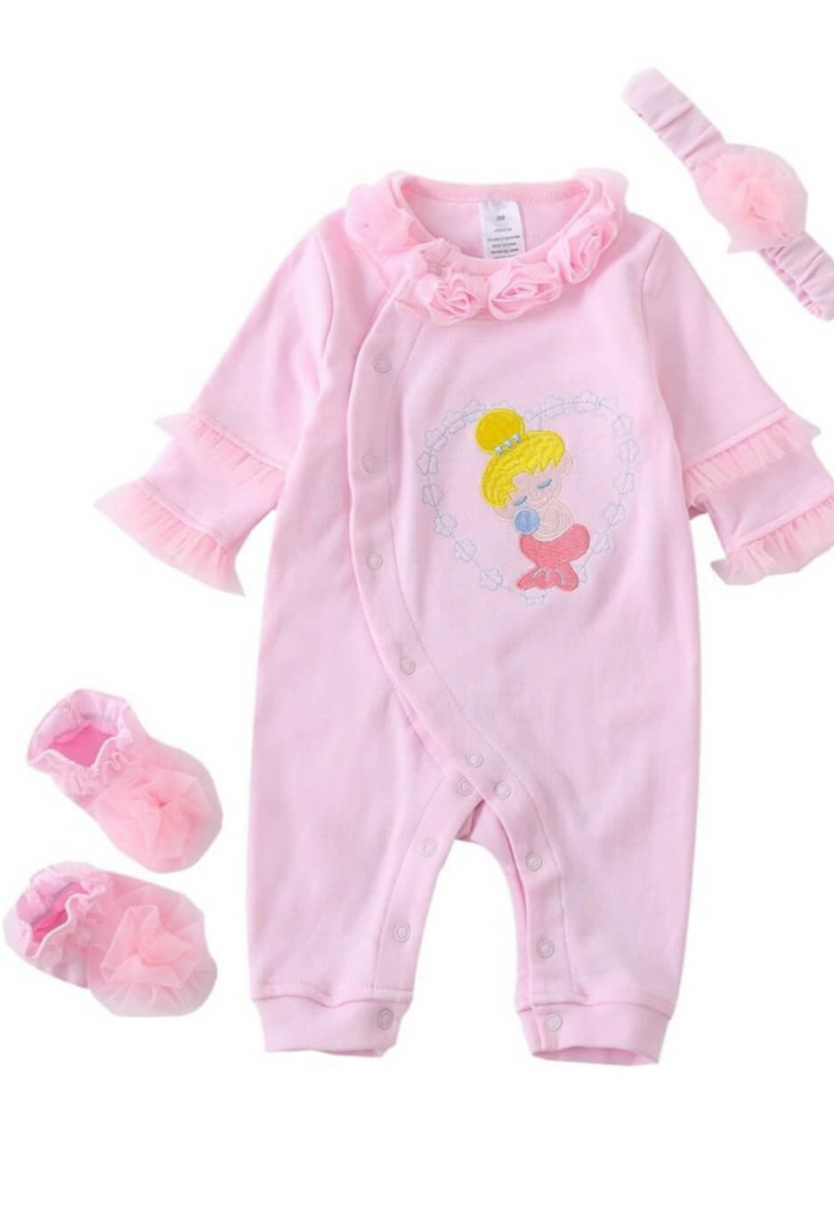 3 piece baby girl romper set for 0 to 3 months