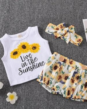 3 piece sunflower tank top with matching shorts and headband