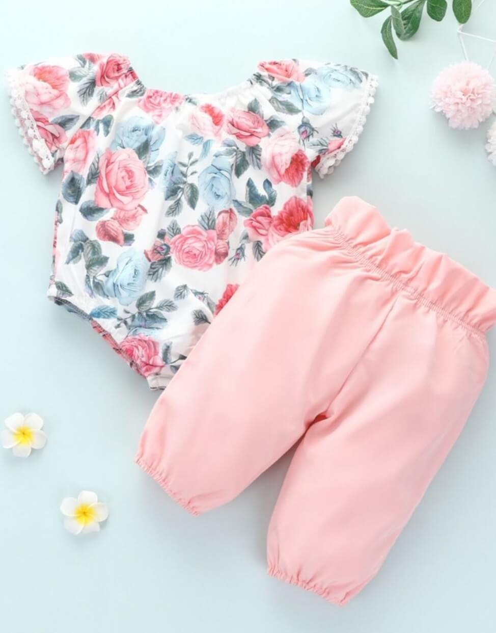 Two piece floral printed bodysuit