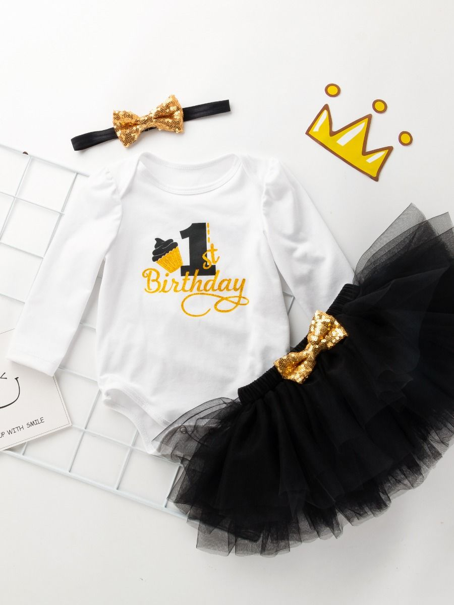 baby 1st birthday black color set for 9 to 12 months