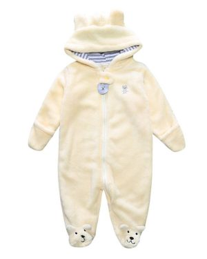 baby bear winter fleece romper with yellow colour