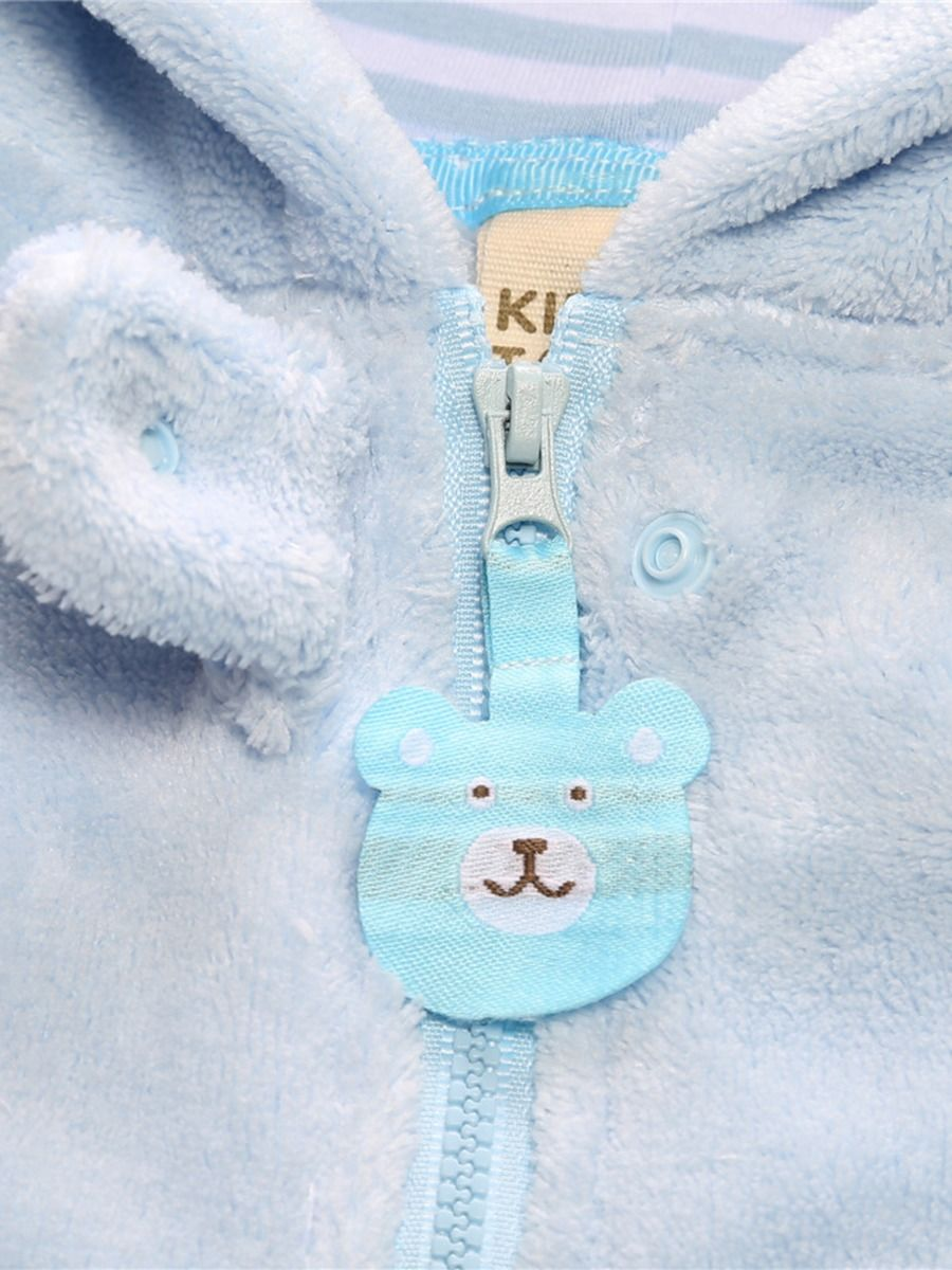 baby bear winter romper with blue color
