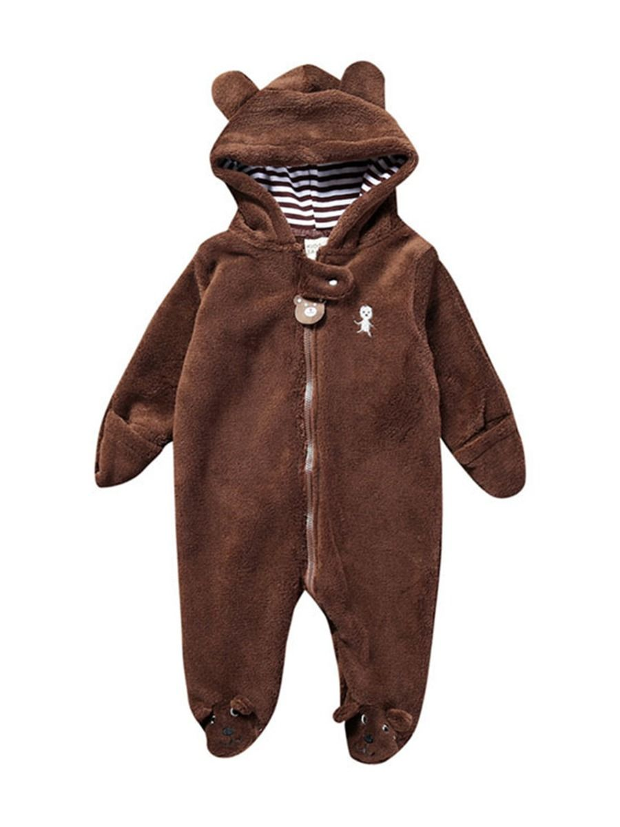baby bear winter romper with coffee colour