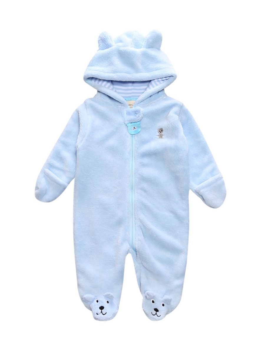 baby bear winter romper with cotton blend for 9 to 12 months