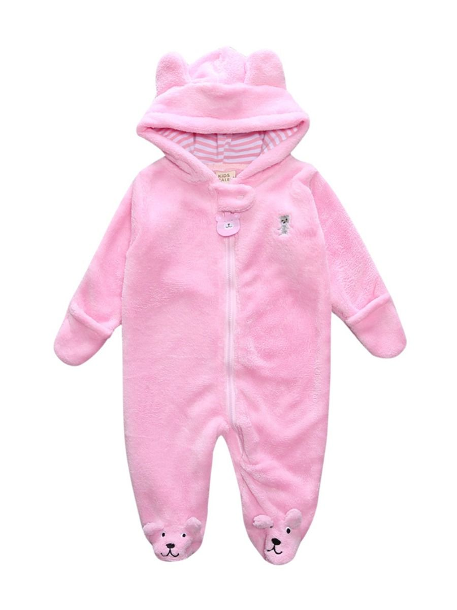 baby bear winter romper with pink color