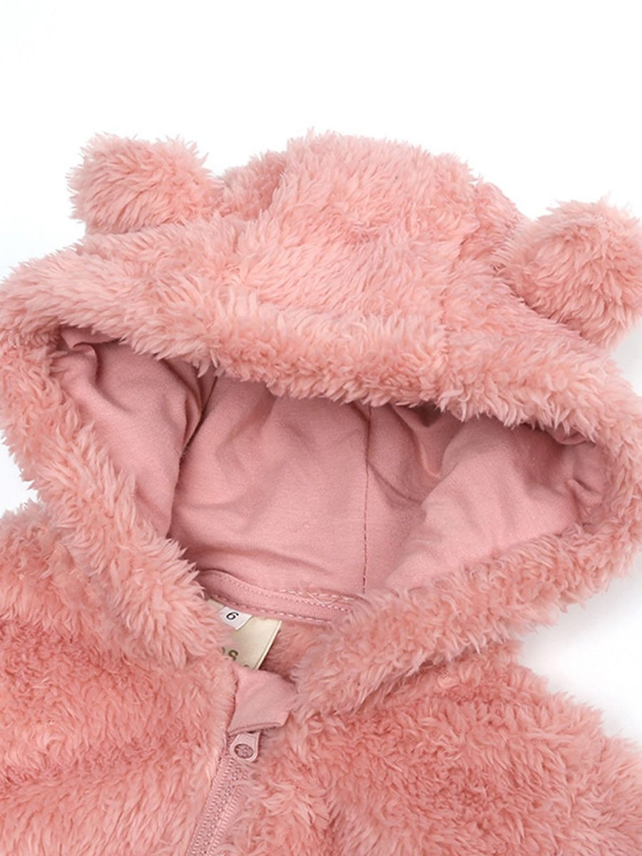 baby bear winter romper with pink colour for 3 to 6 months