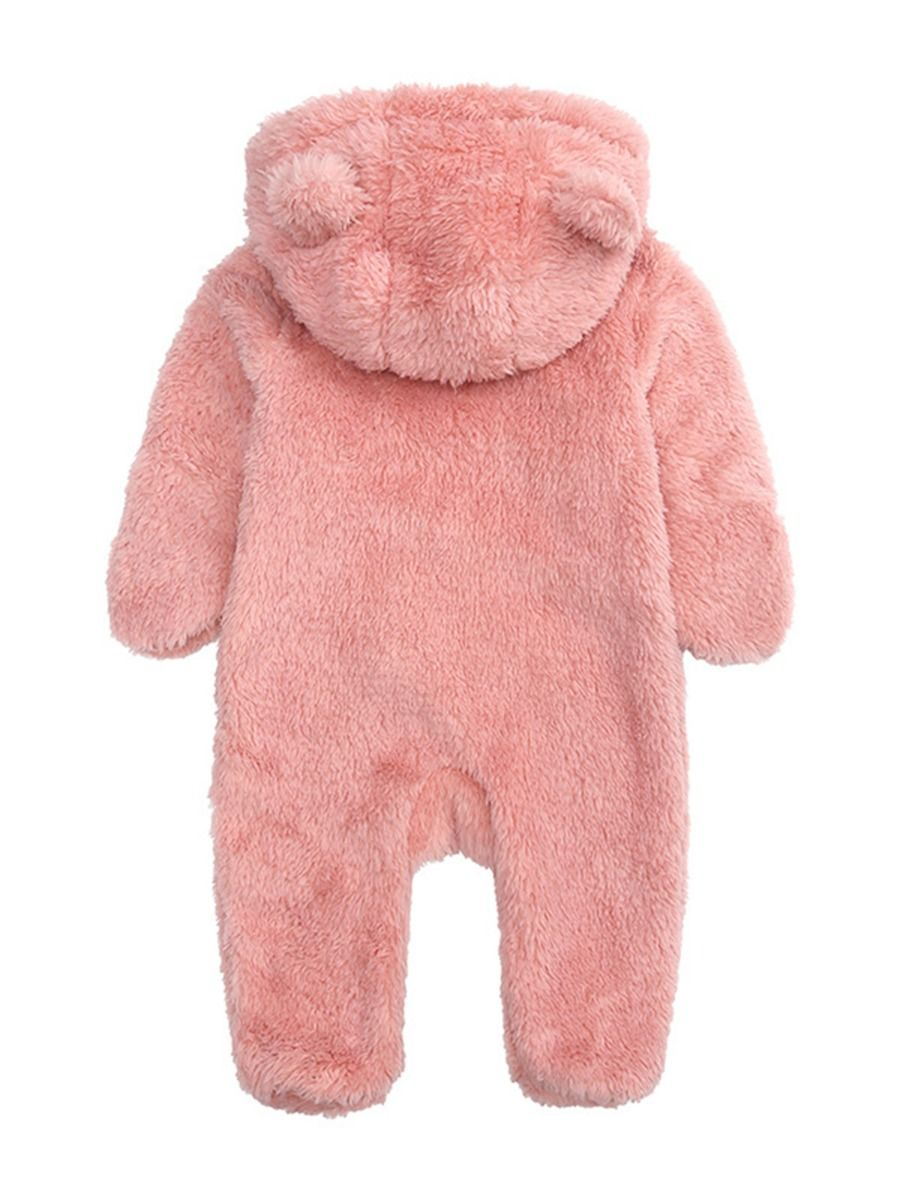 baby bear winter romper with pink colour for 6 to 9 months