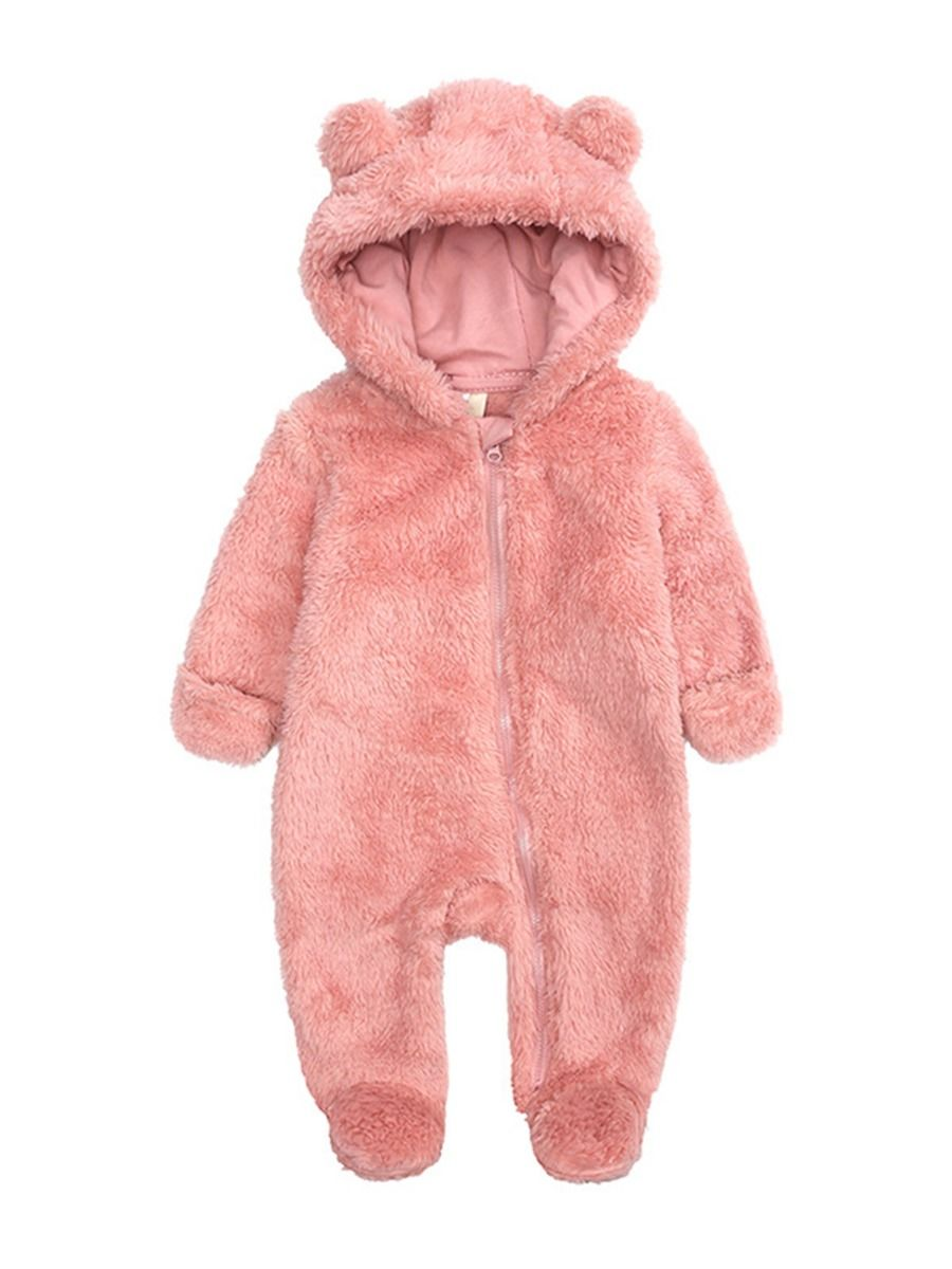 baby bear winter romper with pink colour
