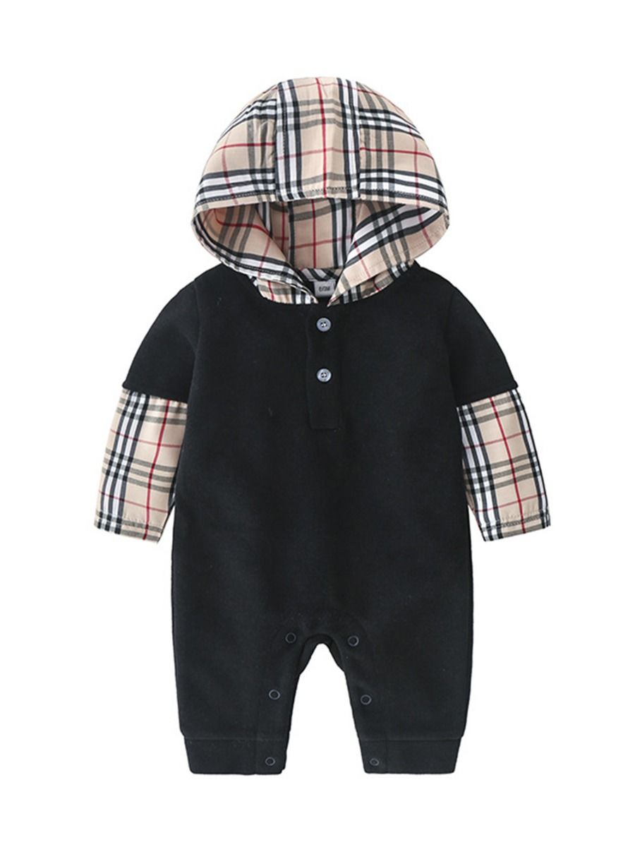 baby boy checked hooded jumpsuit