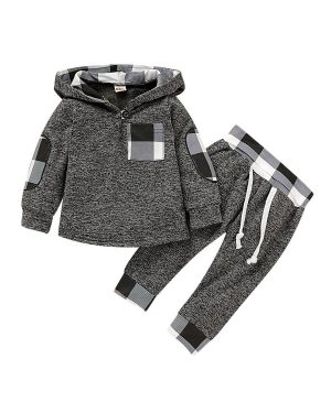 baby boy plaid set with grey color