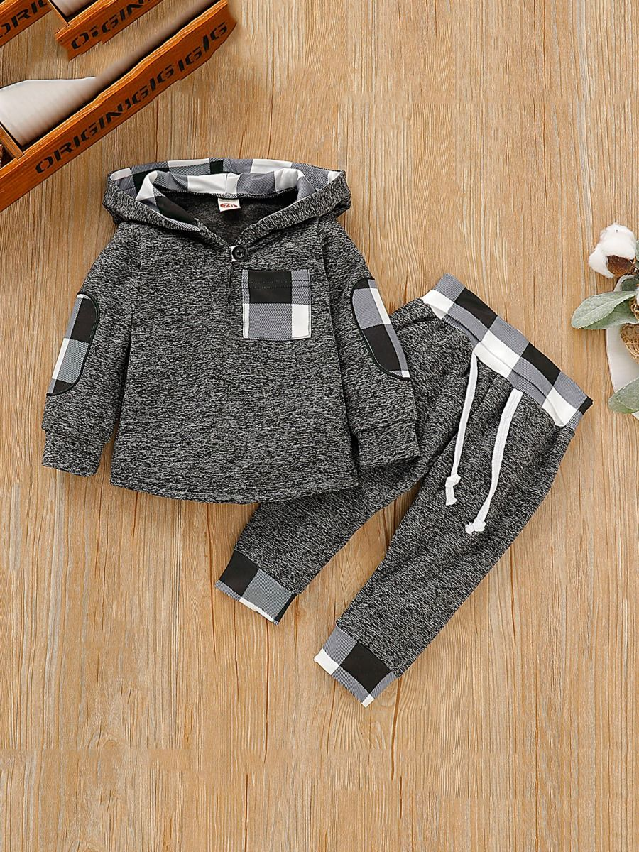 baby boy plaid set with grey color for 3 to 6 months