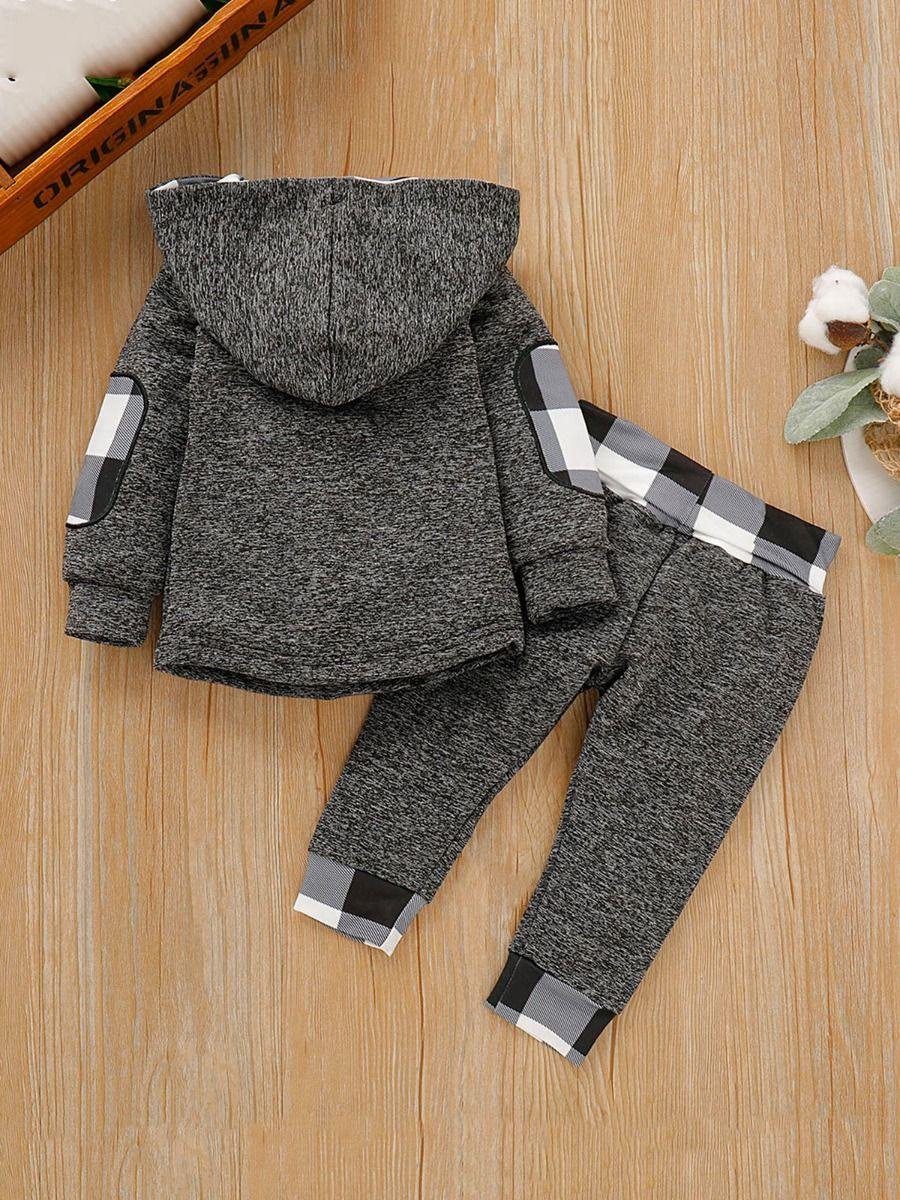 baby boy plaid set with grey color for 9 to 12 months