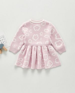 baby girl flower knit dress with pink colour