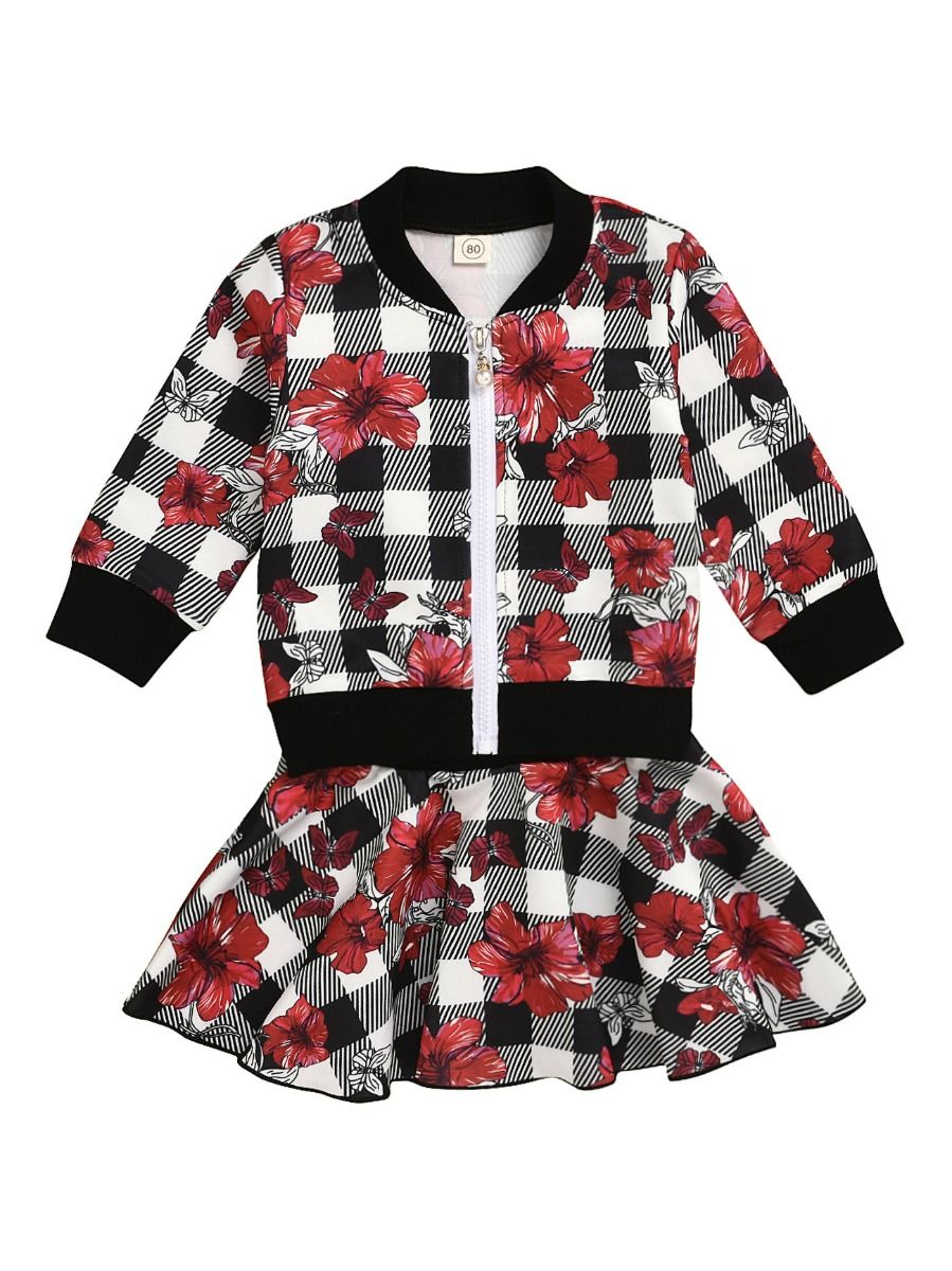 baby girl red flower jacket and skirt set