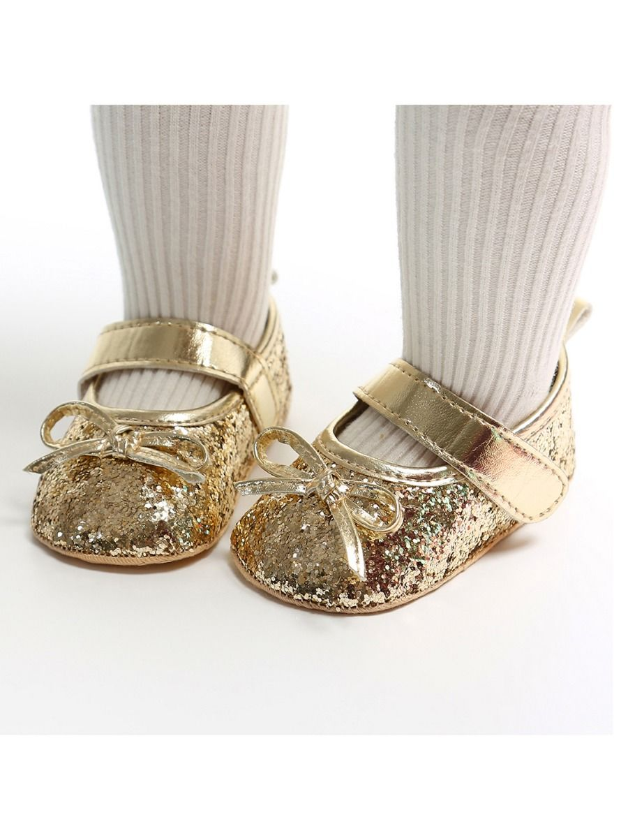 baby sequins bowknot gold shoes and matching headband 12 to 18 months