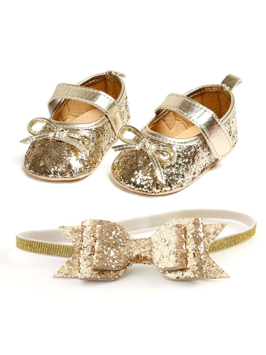 baby sequins bowknot gold shoes and matching headband 9 to 12 months