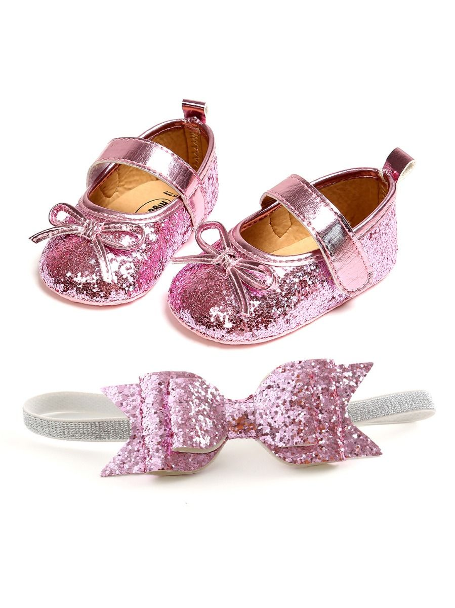 baby sequins bowknot shoes and matching headband 3 to 6 months