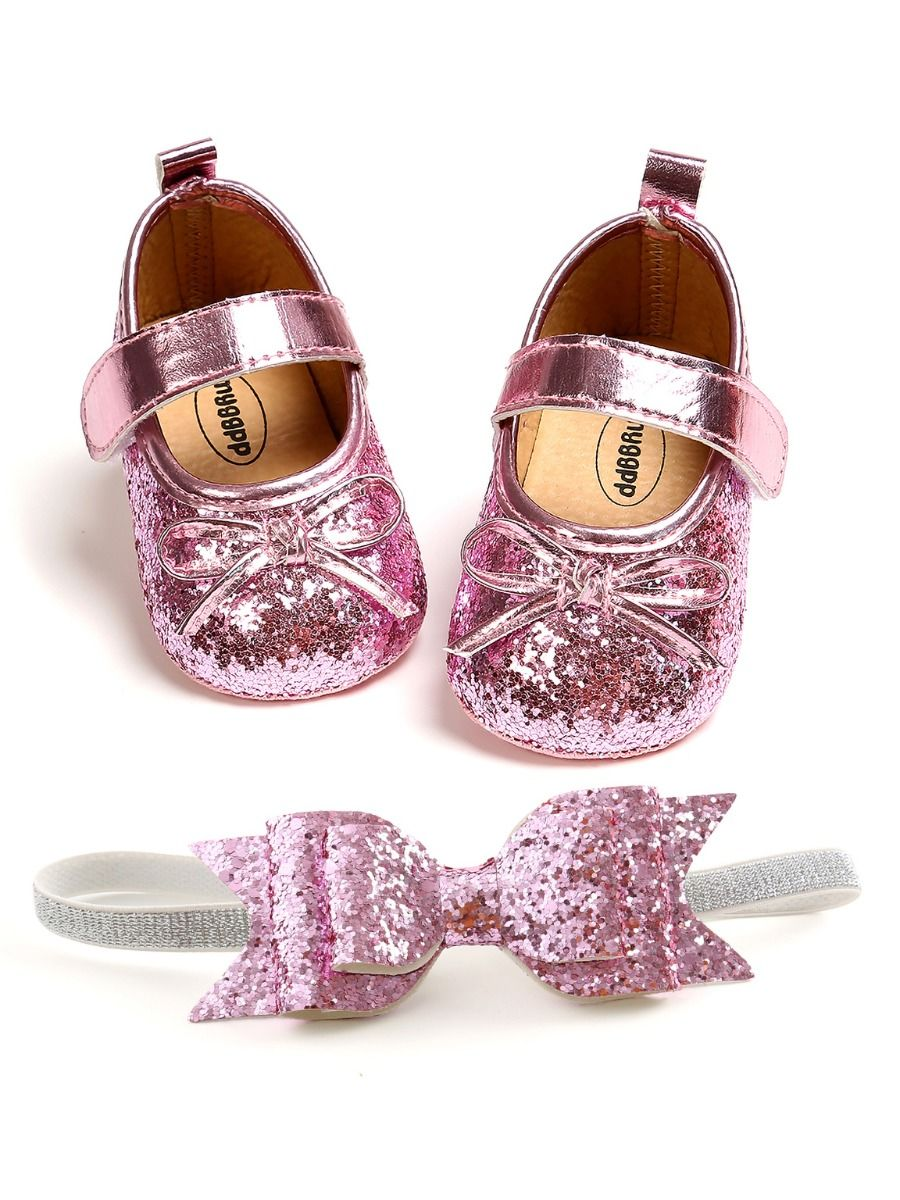 baby sequins bowknot shoes and matching headband 9 to 12 months