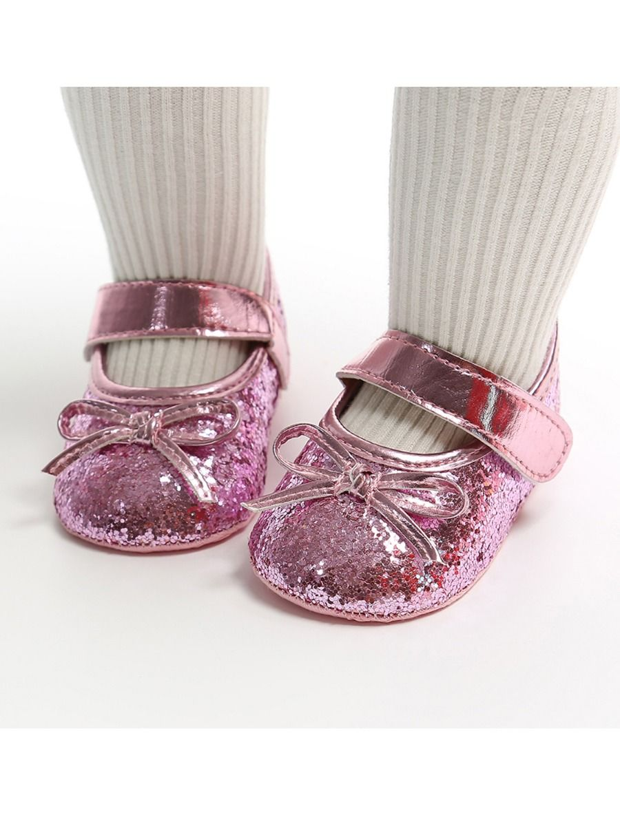 baby sequins bowknot shoes and matching headband
