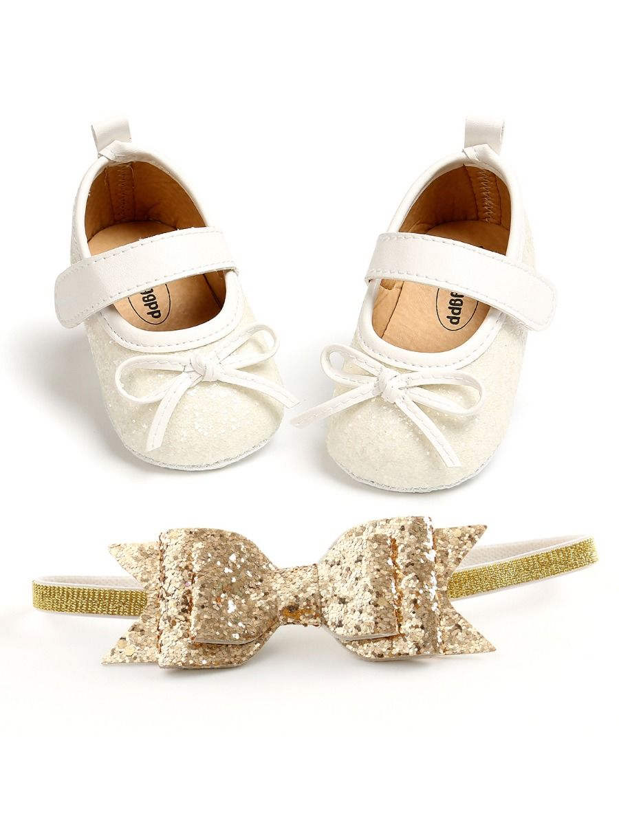 baby sequins bowknot white shoes and matching headband