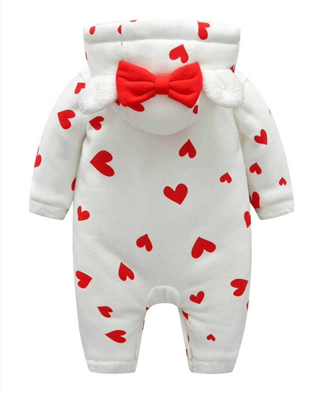 baby warm hearted hoodie romper for 3 to 6 months