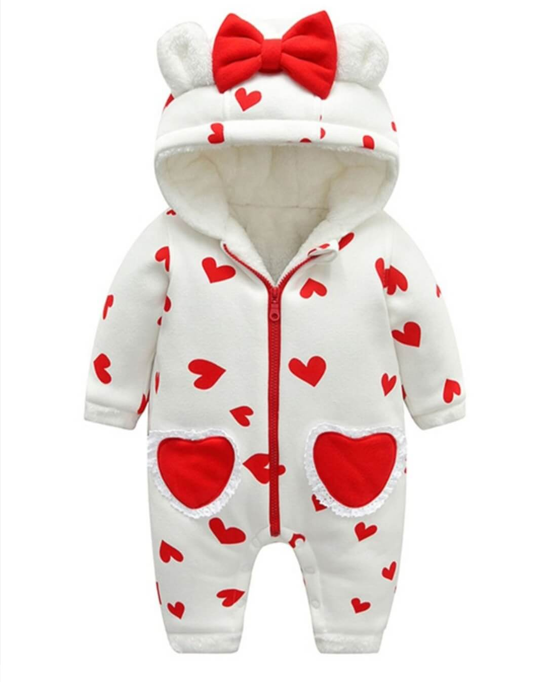 baby warm hearted hoodie romper for 6 to 6 months