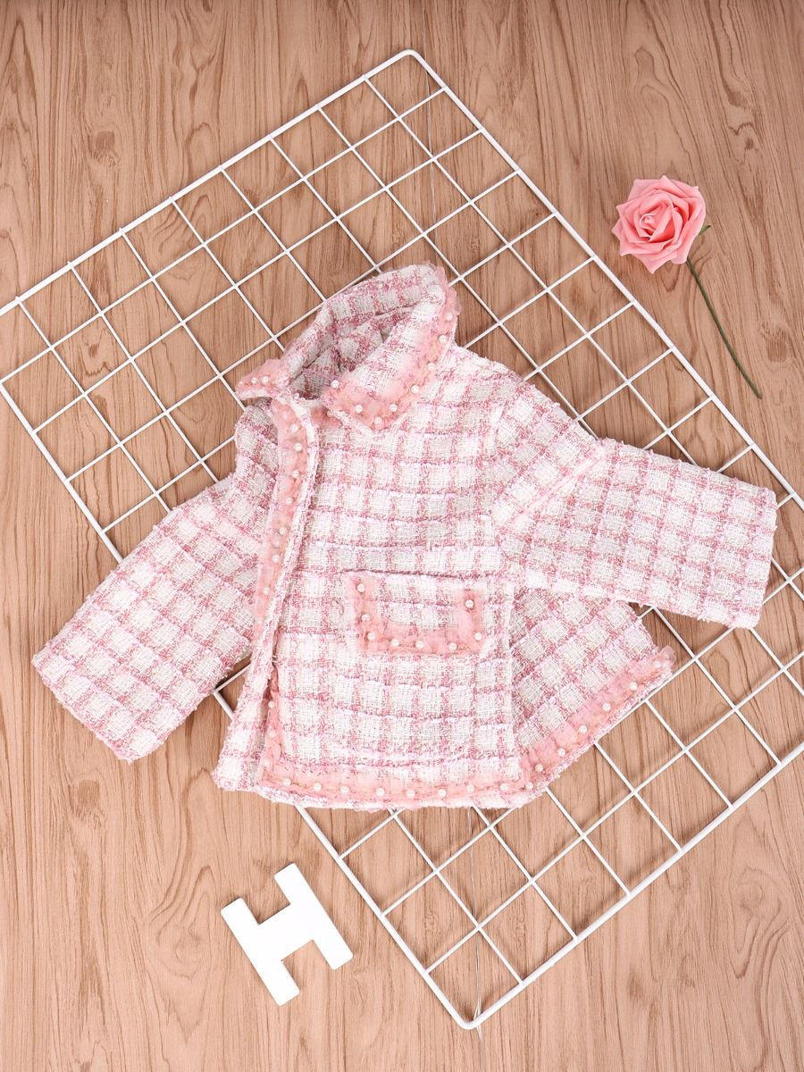 beaded checked jacket for baby girl