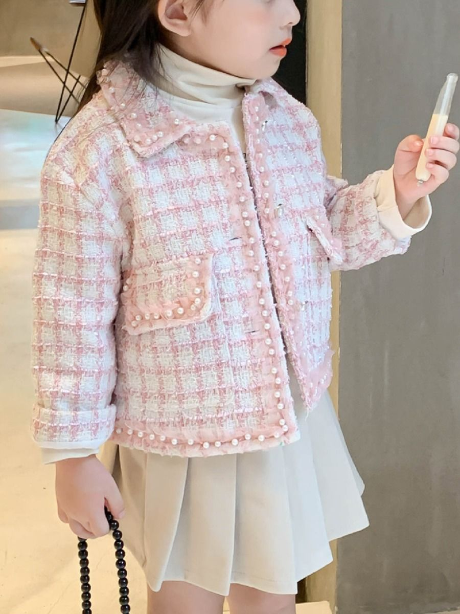 beaded checked jacket with cotton blend for baby girl
