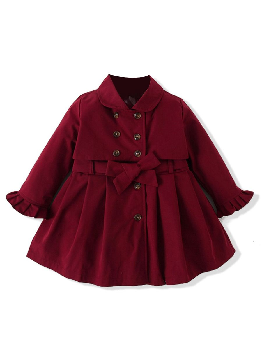 belted double breasted red coat dress
