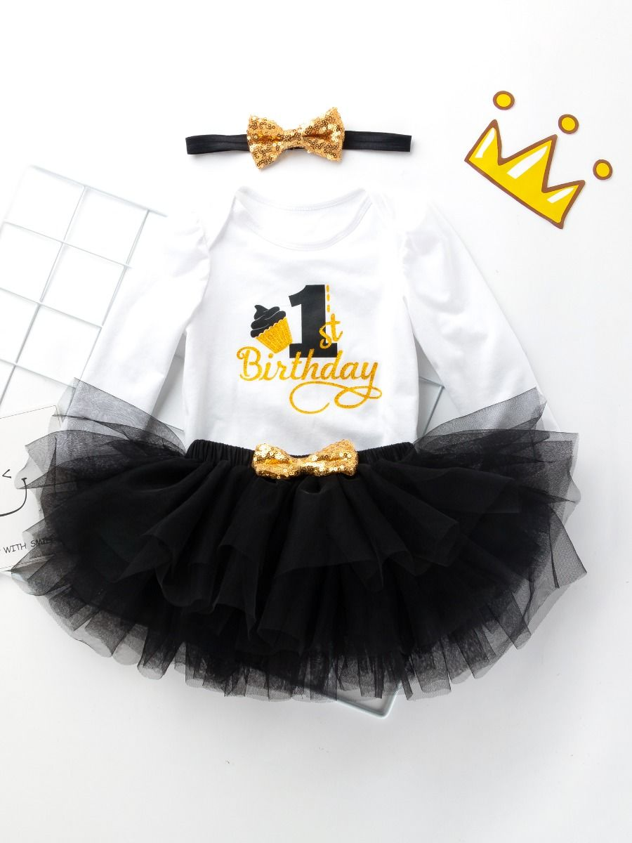 birthday set for baby girl with black color