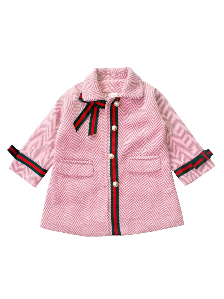 bowknot winter pink coat for 2 to 3 years
