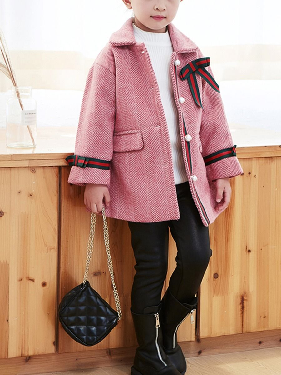 bowknot winter pink coat for 3 to 4 years