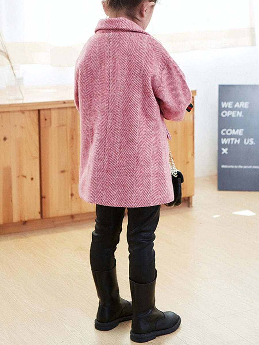 bowknot winter pink coat with cotton blend