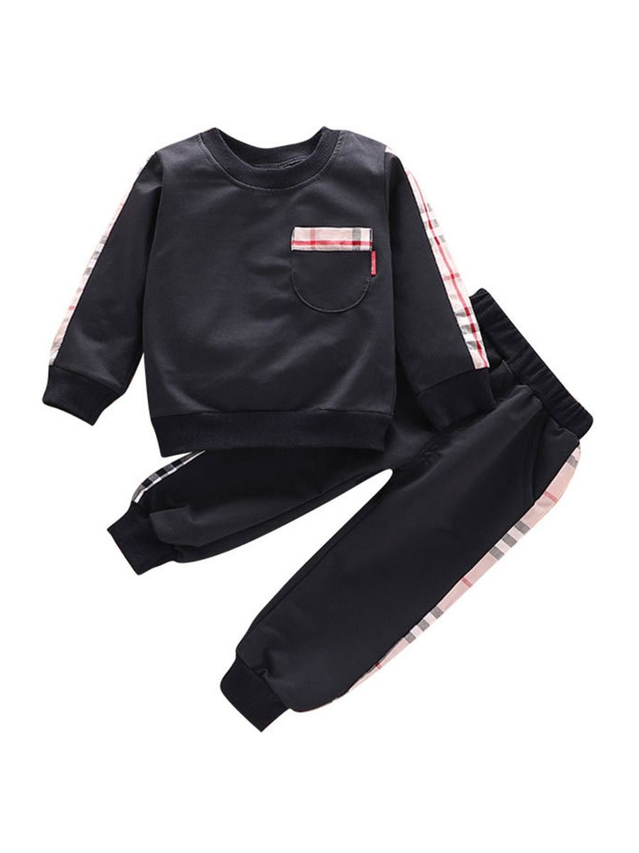 boys two piece balck checked set with cotton blend