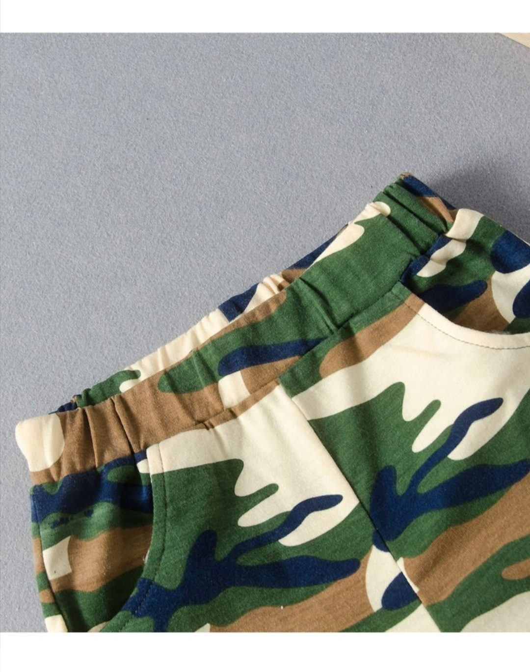 boys two piece camouflage set with army print