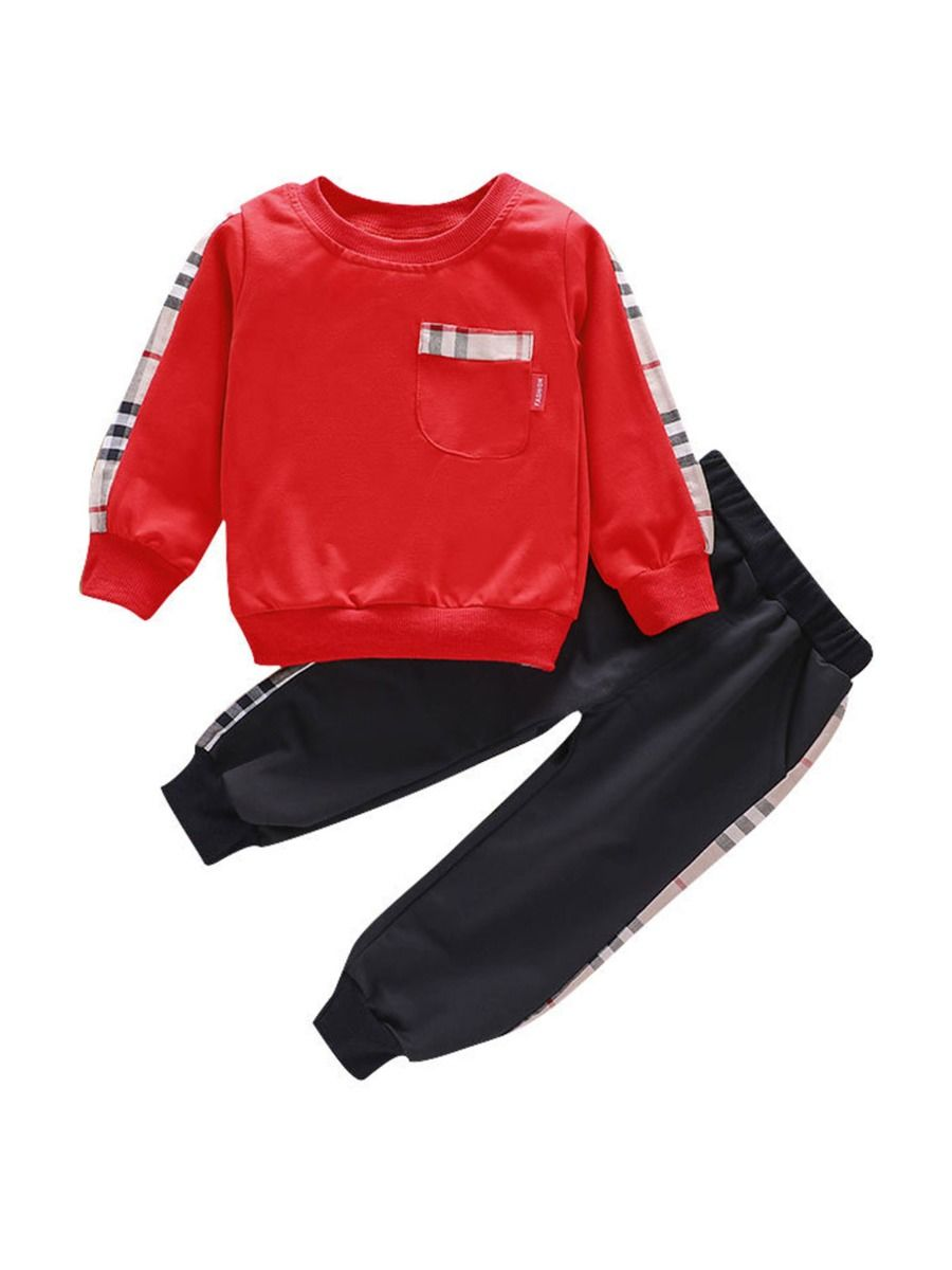 boys two piece red checked set