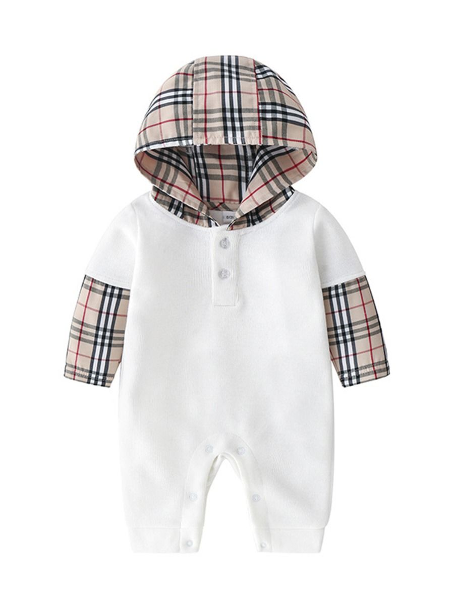 checked hooded jumpsuit baby boy