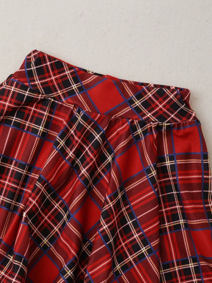 checked set matching top and skirt 18 to 24 months