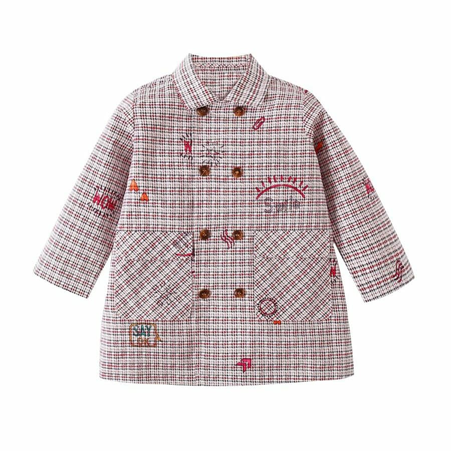 checked style double breasted girls coat