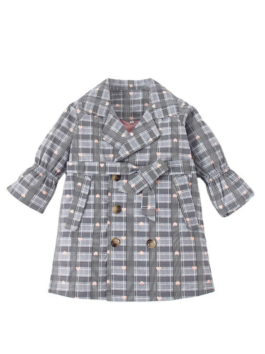double breasted love heart checked coat for 3 to 4 years