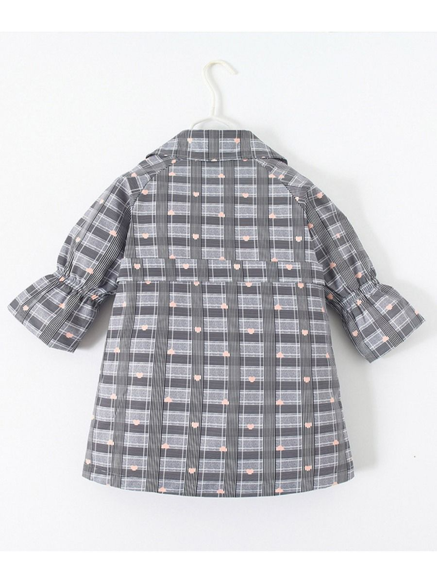 double breasted love heart checked coat for 4 to 5 years