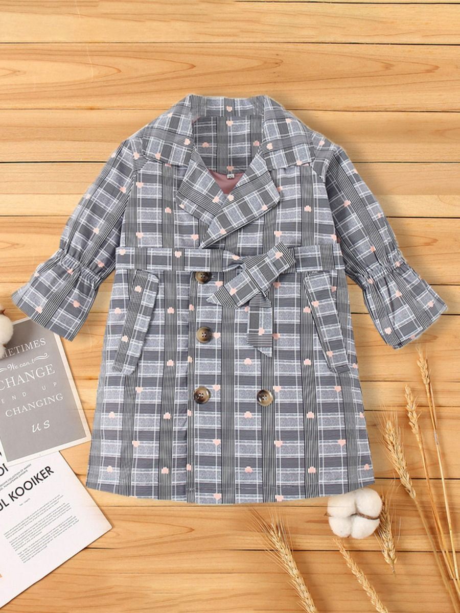 double breasted love heart checked coat