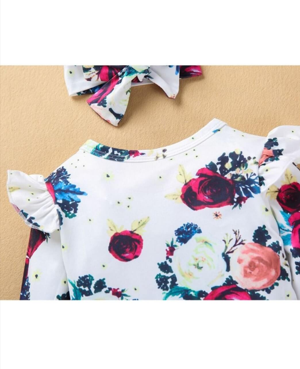floral long sleeve bodysuit with matching headband