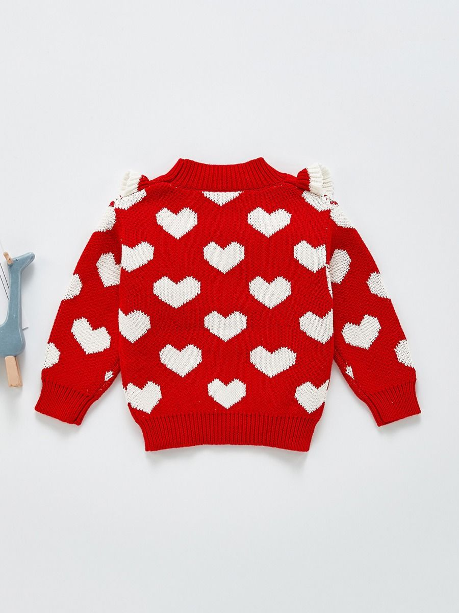 flounce trim red love heart sweater for baby girl