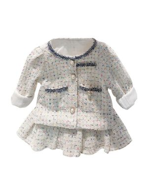 girl plaid outfit - white jacket with pleated skirt 4 to 5 years